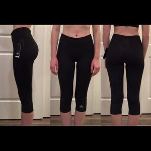 New Adidas Black Cropped Leggings Size Small